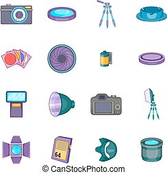 Photo studio icons set, cartoon style - Photo studio icons...