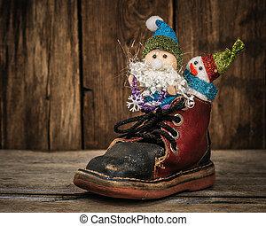 Santa and snowman in a reindeer sleigh. - Santa and snowman...