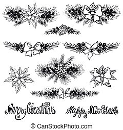 Christmas borders.Fir tree branches,flowers silhouette -...