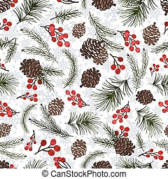 Christmas tree branches seamless pattern.Cone,berries,snow -...