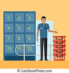 Lockers and Security Personnel in Supermarket - Lockers and...