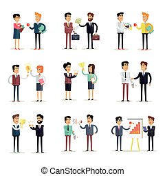 Set of Business Concepts Vector in Flat Design. - Set of...