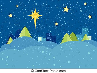 Christmas Night Vector Concept in Flat Design - Christmas...
