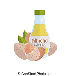 Almonds with Almond Butter. Ripe almonds in flat. Almond...