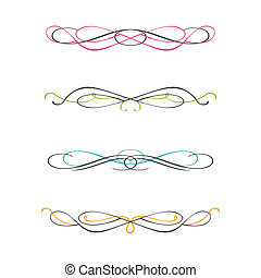 Set of two color calligraphic design elements and page decor