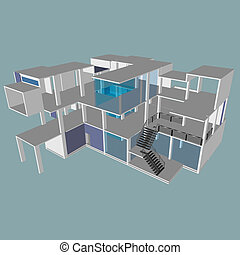 Isometric view of an office building