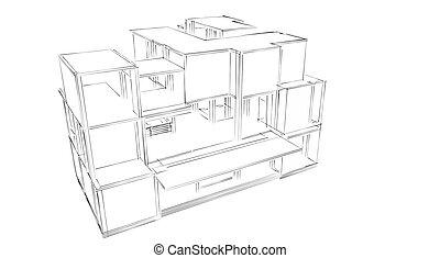 Sketch showing facade of a building