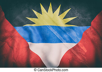 Antigua and Barbuda flag waving - 3d rendering of an old...
