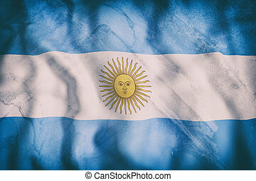 Argentine Republic flag waving - 3d rendering of an old...