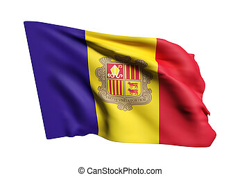 Andorra flag waving - 3d rendering of an Andorra flag waving...