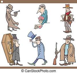 wild west people cartoon set - Cartoon Illustration Set of...