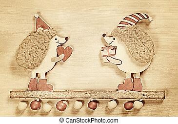 estilo, de madera, vendimia, dos, Plano de fondo, navidad,...
