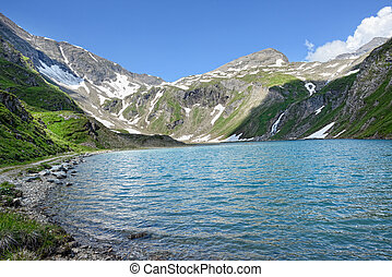 Grossglocker mountain area with snow in summer time.
