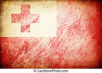 Grunge rubbed flag series of backgrounds. Tonga.