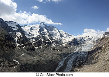 Grossglocker mountain area with snow in summer time....