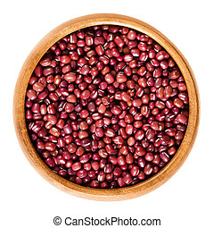 Red adzuki beans in wooden bowl over white - Red adzuki...
