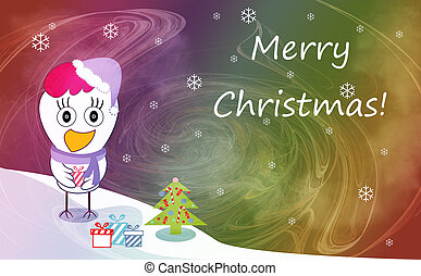 Christmas and New Year greeting card with cheerful rooster...
