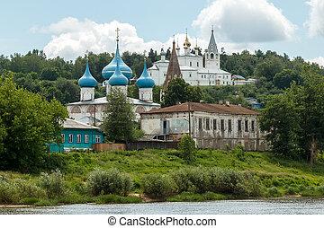 Summer day in Gorokhovets. River bank Klyazma - Gorokhovets,...
