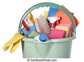 Bucket filled with cleaning industry tools, clean service