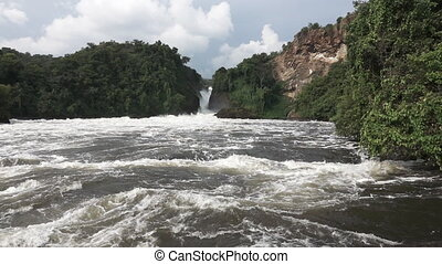 Murchison Falls in super slow motion - Panoramic view of...