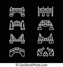 Set line icons of bridges isolated on black. Vector...