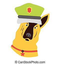 Police dog icon, flat style - Police dog icon. Flat...