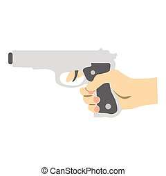 Hand with gun icon, flat style - Hand with gun icon. Flat...