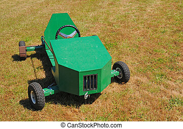 Soapbox Car Racer Cart - A green soapbox racing car...