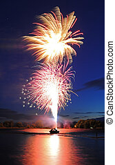 Fireworks Launching from Boat - Fireworks launching from a...