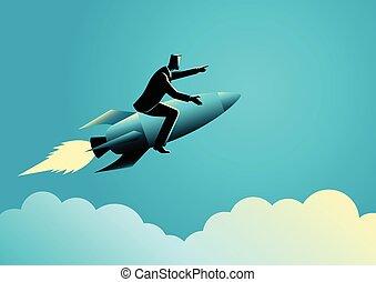 Businessman on a rocket - Business concept illustration of a...