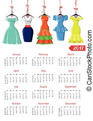 Calendar 2017 year.Female summer dresses - Calendar 2017...