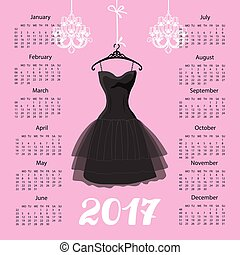 Calendar 2017 year.Black dress Silhouette - Calendar 2017...