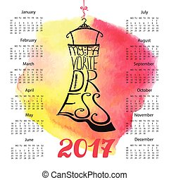 Calendar 2017 year.Lettering.Black Dress Silhouette -...