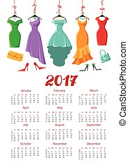 Calendar 2017 year.Colored dresses,accessories - Calendar...