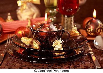 Luxury place setting for Christmas - Luxury place setting in...
