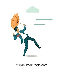 Strong wind Blowing on Man with Umbrella. Vector - Strong...