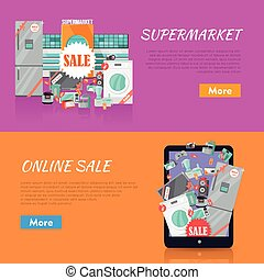 Sale in Electronics Store Vector Web Banners - Sale in...