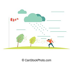 Bad Weather Vector Concept in Flat Design - Bad or stormy...