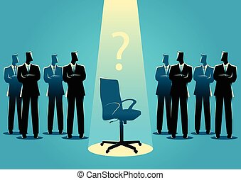 Businessmen standing with empty chair in the middle