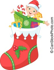 Christmas elf - Elf in a Christmas stocking with gifts
