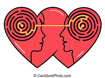 Psychology of love - Couple heads silhouettes with maze...
