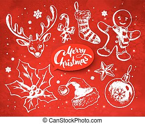 Christmas vintage vector set with festive objects
