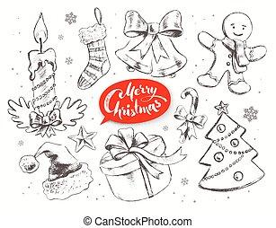 Christmas vintage vector set