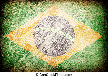 Grunge rubbed flag series of backgrounds. Brazil.