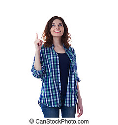 Young woman in casual clothes over white isolated background...