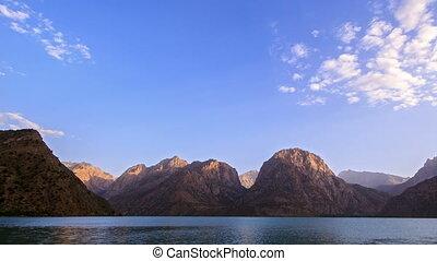 Mountain lake at sunset. Panorama. Time Lapse. Pamir,...