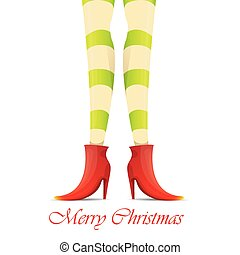 vector christmas card with with elf girls legs - vector...