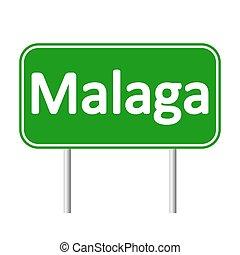 Malaga road sign. - Malaga road sign isolated on white...