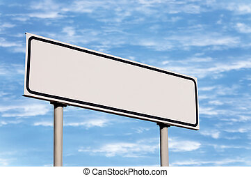 Blank Road Sign Against Sky - Blank road sign against sky;...