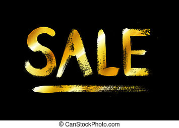 Sale word lettering in gold and black colors.
